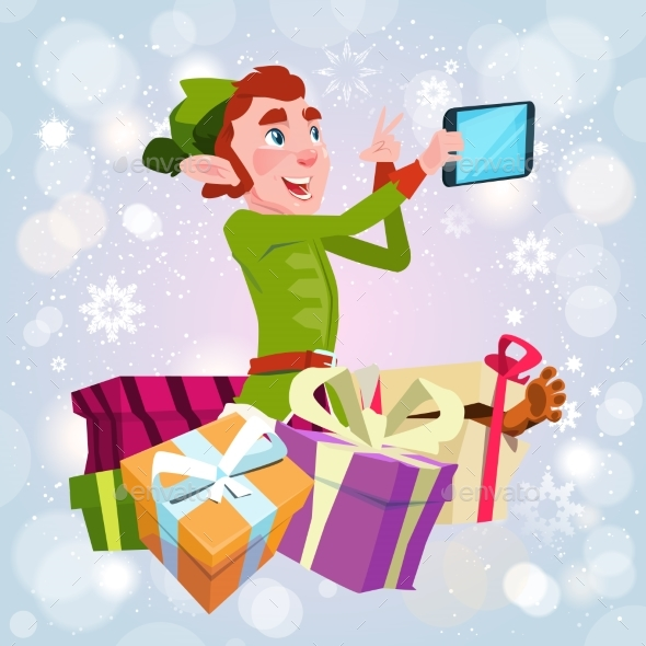 Santa Claus Helper Green Elf Making Selfie Photo - Christmas Seasons/Holidays