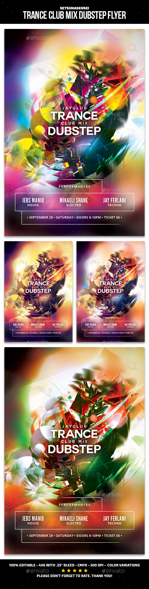 Trance Club Mix Dubstep Flyer - Clubs & Parties Events