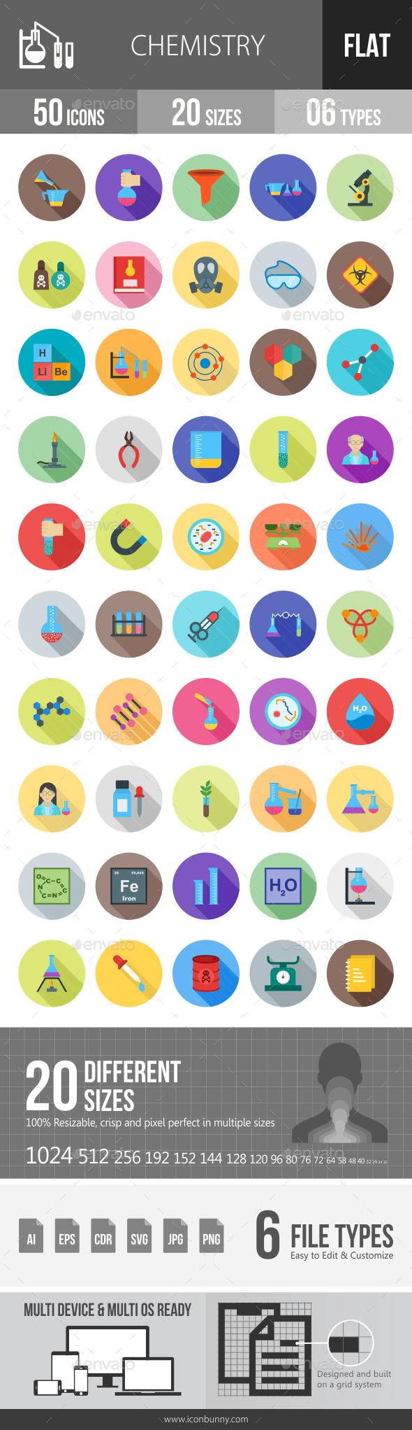 Chemistry Flat Shadowed Icons - Icons