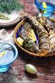 Christmas dish of roasted fish