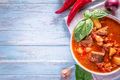 Hungarian goulash on cyan background with copy space
