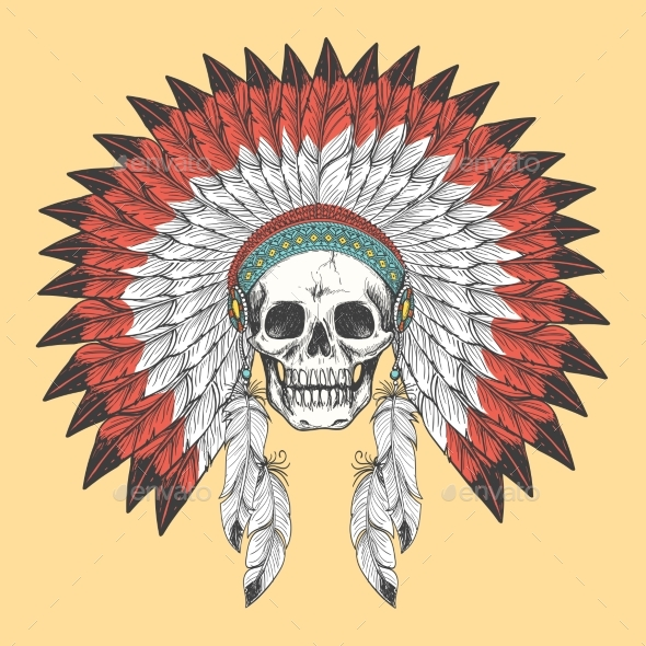 American Indian Skull in Feather Headdress - Decorative Symbols Decorative