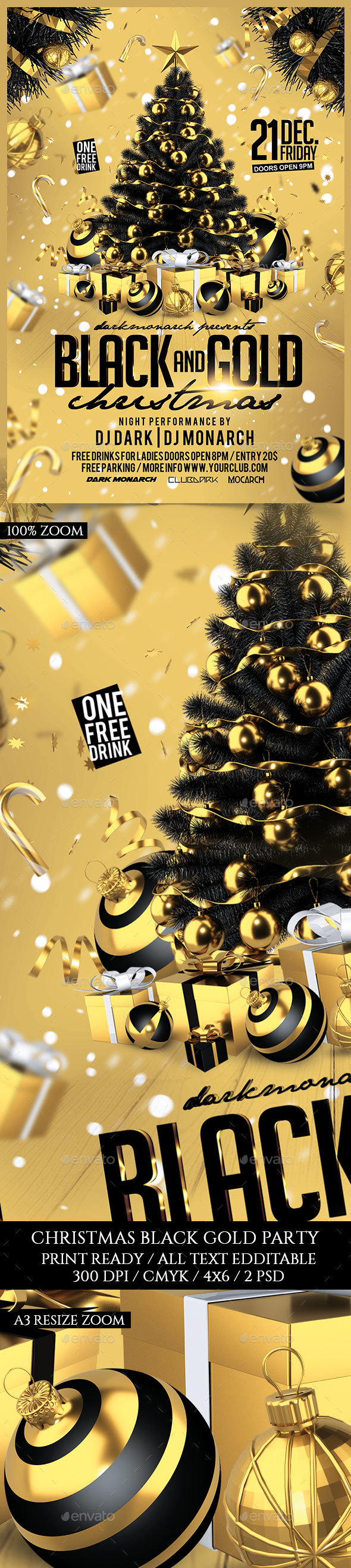 Black and Gold Christmas Party - Holidays Events
