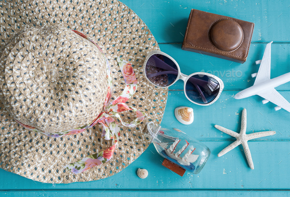 Overhead view of Traveler's accessories and items - Stock Photo - Images