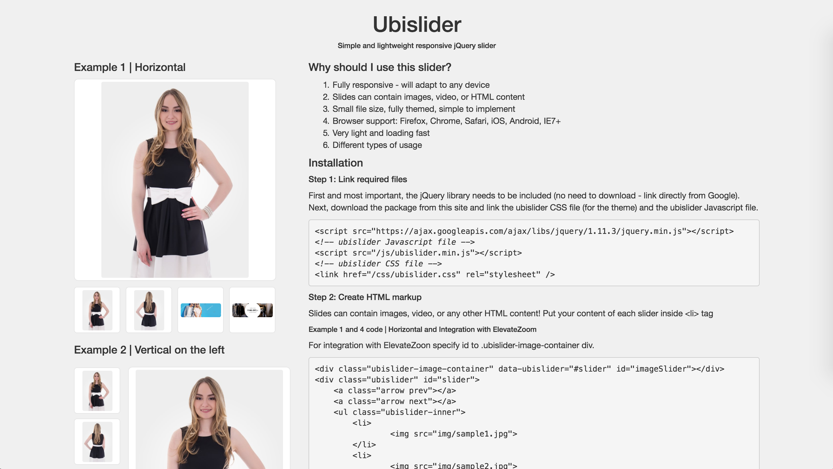 Lightweight eCommerce Product jQuery Plugin | Ubislider