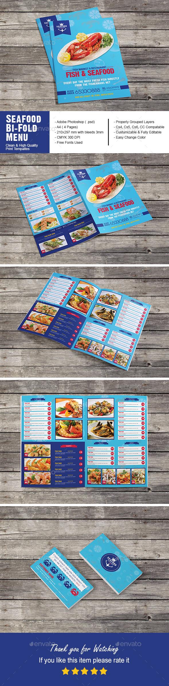 Seafood Restaurant Bi-Fold Menu - Food Menus Print Templates