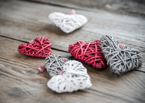 Handmade retro hearts on the wooden background - Stock Photo - Images