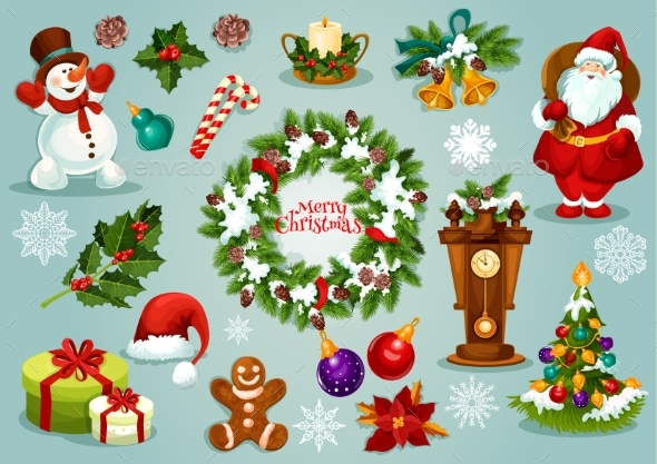 Christmas and New Year Holiday Cartoon Icon Set - Christmas Seasons/Holidays