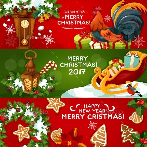 Merry Christmas and Happy New Year Banner Set - Christmas Seasons/Holidays