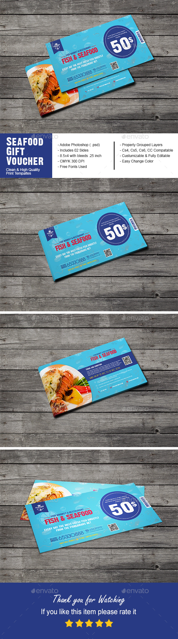 Seafood Restaurant Gift Voucher - Cards & Invites Print Templates