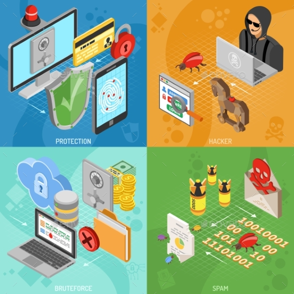 Internet Security Isometric Square Banners - Web Technology