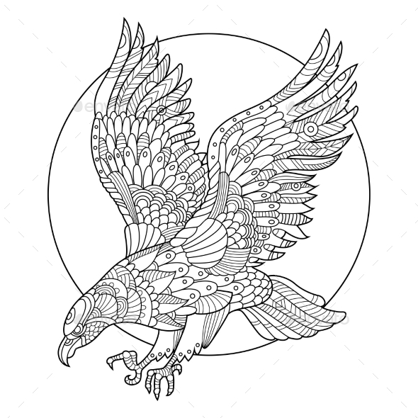 eagle bird coloring book for adults tattoos vectors - Bird Coloring Book