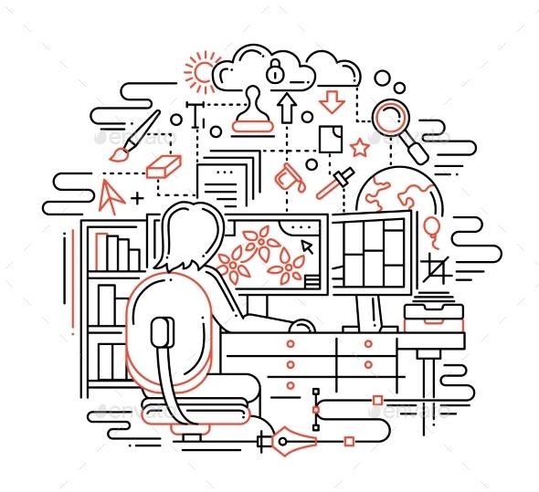 Designer at Work - Line Design Illustration - Industries Business