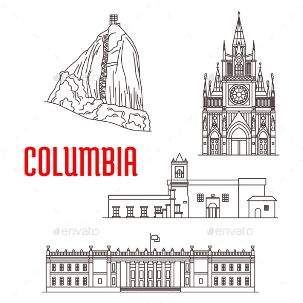 Tourist Landmarks and Architecture Of Colombia - Buildings Objects