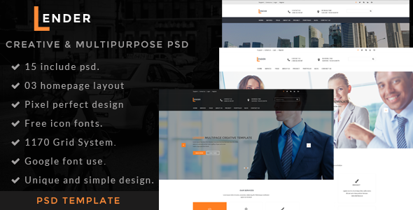 Lender | Multipurpose PSD Template - Business Corporate
