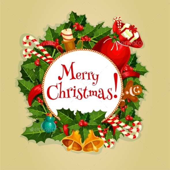 Merry Christmas Round Poster with Xmas Decoration - Christmas Seasons/Holidays