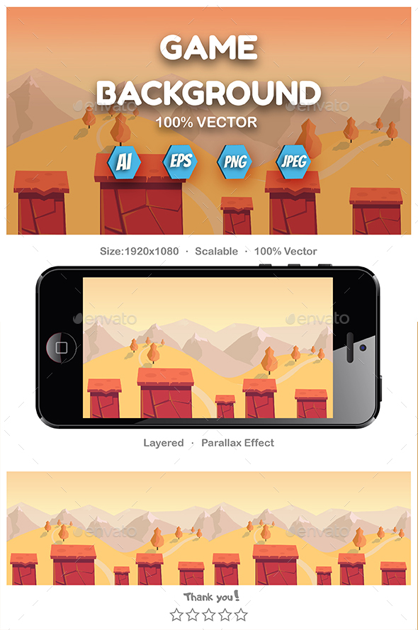 Cartoon Seamless Landscape - Backgrounds Game Assets