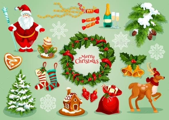 Christmas and New Year Traditional Symbol Set - Christmas Seasons/Holidays
