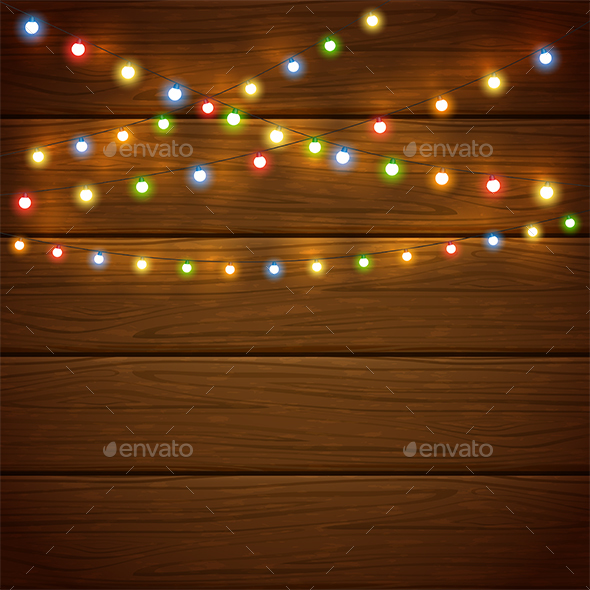 Christmas Wooden Background with Colorful Lights - Christmas Seasons/Holidays