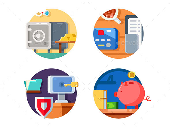 Storage Money in Bank - Web Elements Vectors