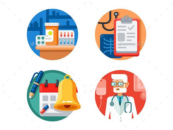 Medical Treatment and Examination - Web Elements Vectors