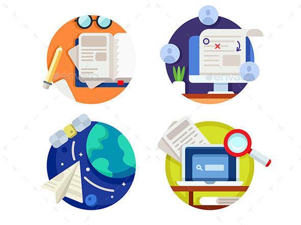 Creating and Correcting Articles - Web Elements Vectors