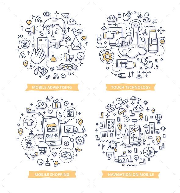 Mobile Technology Doodle Illustrations - Communications Technology