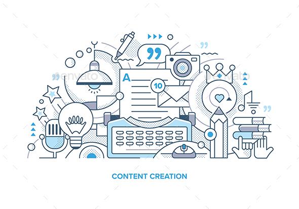 Content Creation Line Illustration - Miscellaneous Vectors