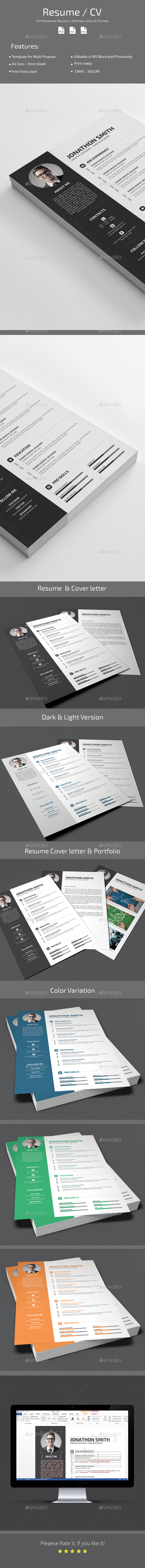 CV Resume - Stationery Print Templates