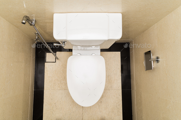 Modern and hygienic toilet bowl with bidet in bathroom - Stock Photo - Images