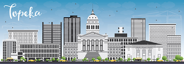 Topeka Skyline with Gray Buildings - Buildings Objects
