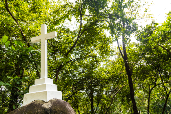 Christian cross crucifix structure stationed within greenery nat - Stock Photo - Images
