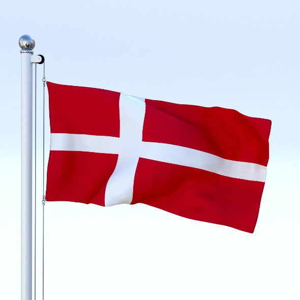 Animated Denmark Flag - 3DOcean Item for Sale