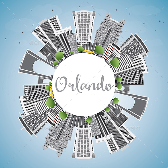 Orlando Skyline with Gray Buildings - Buildings Objects