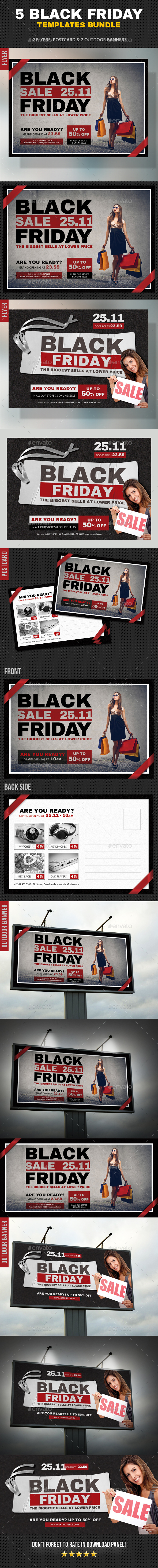 5 Black Friday Flyer Poster Postcard Bundle