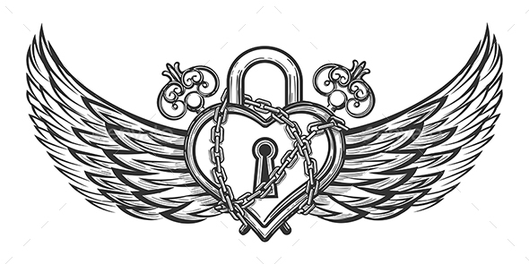 Heart Shaped Lock with Wings - Tattoos Vectors