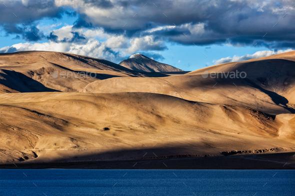 Himalayas and Lake Tso Moriri on sunset. Ladakh - Stock Photo - Images