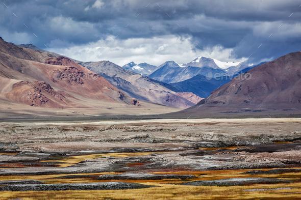 Himalayan lake Tso Kar in Himalayas, Ladakh, India - Stock Photo - Images