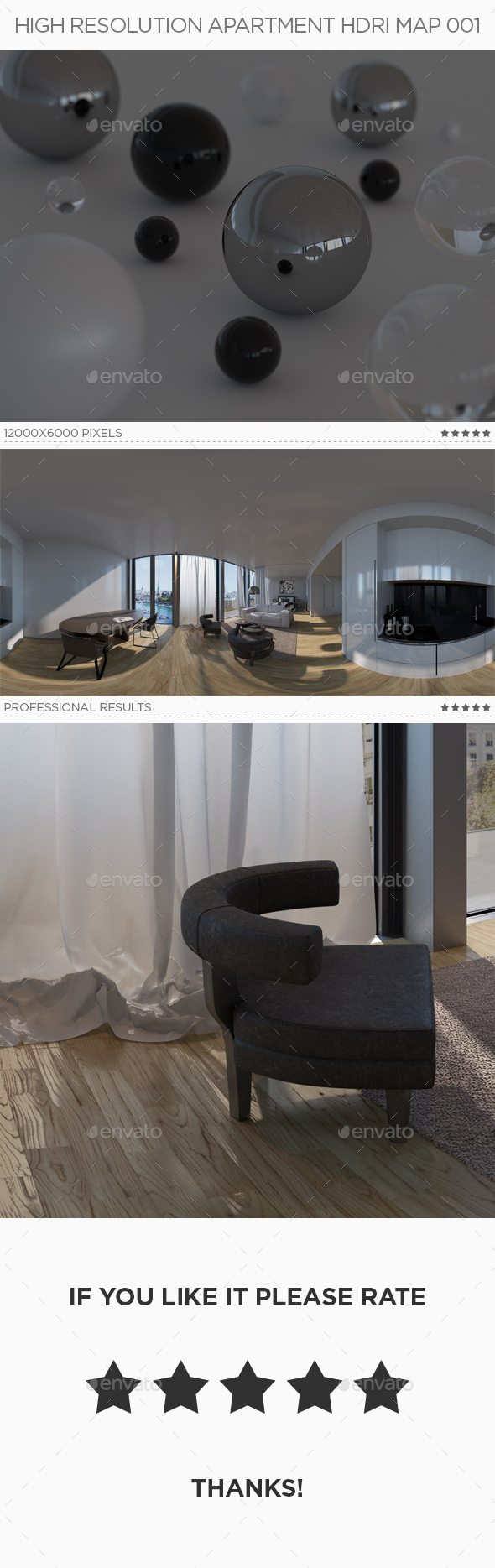 High Resolution Apartment HDRi Map 001 - 3DOcean Item for Sale