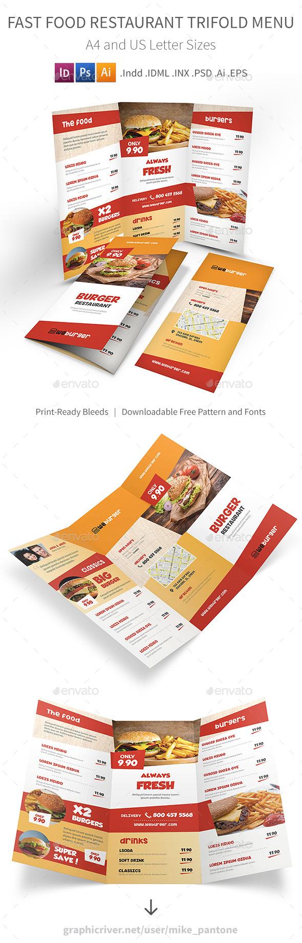 Fast Food Restaurant Trifold Menu - Food Menus Print Templates