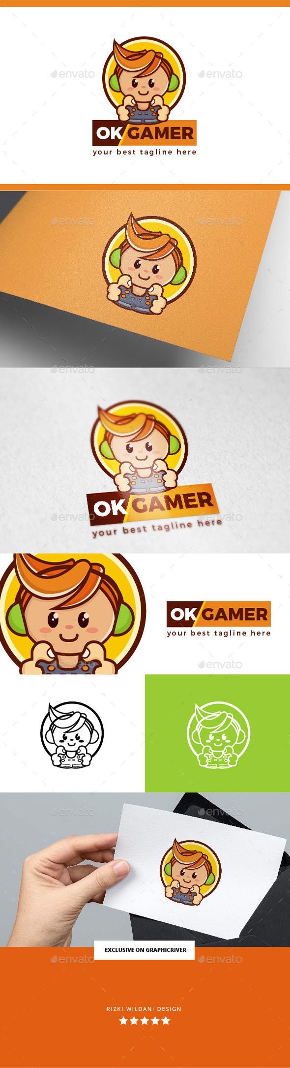 OK Gamer Geek Logo Template - Vector Abstract