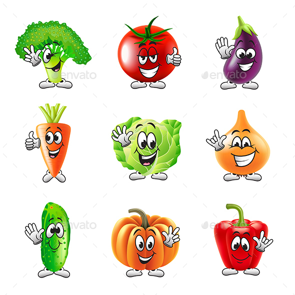 Funny Cartoon Vegetables Icons Vector Set - Food Objects