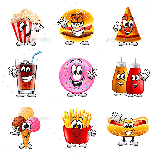 Funny Cartoon Fastfood Icons Vector Set - Food Objects