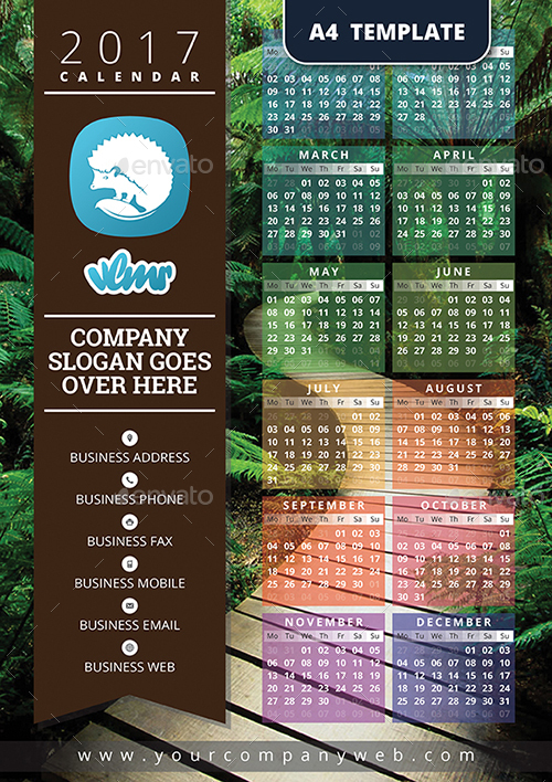 2017 One Page Calendar Template Calendars Stationery Previews 00 2017calendar Jpg