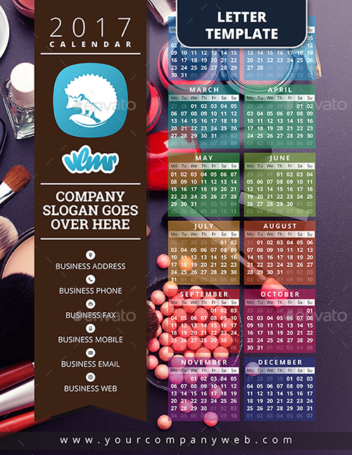 2017 One Page Calendar Template by vlmr | GraphicRiver