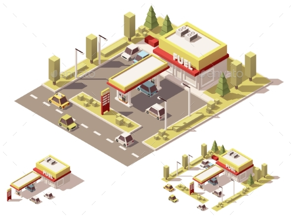 Vector Isometric Low Poly Filling Station - Buildings Objects
