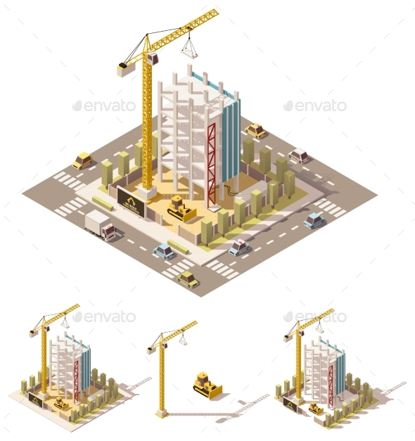 Vector Isometric Low Poly Construction Site - Buildings Objects