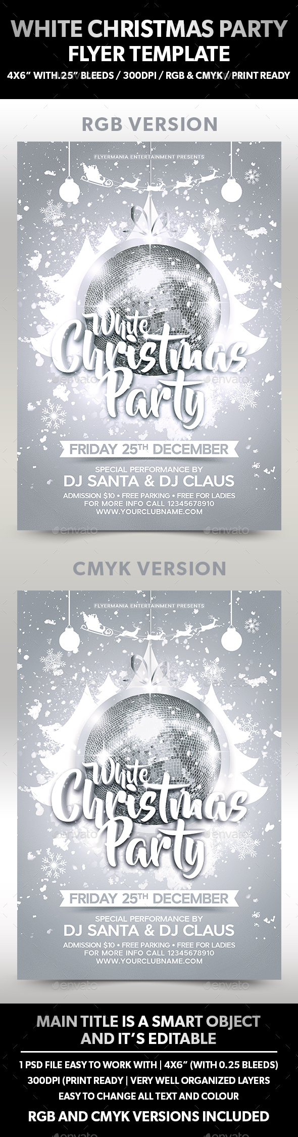 White Christmas Party Flyer Template - Flyers Print Templates