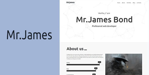 Mr.James – Creative Minimal Portfolio Template - Site Templates