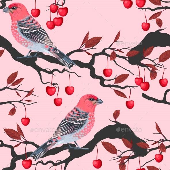 Birds And Cherry Tree Seamless - Christmas Seasons/Holidays